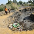 An area, which is built on an old mine dump, where part of the ground has sunk. (© Veli Nhlapo @ Sowetan)