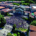 An aerial view of protesting students flooding the Jammie Plaza in front of Jameson Hall on the University of Cape Town's main campus, as part of the recent #FeesMustFall movement.