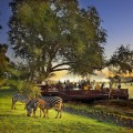 Royal Livingstone - Deck at sunset with zebras.