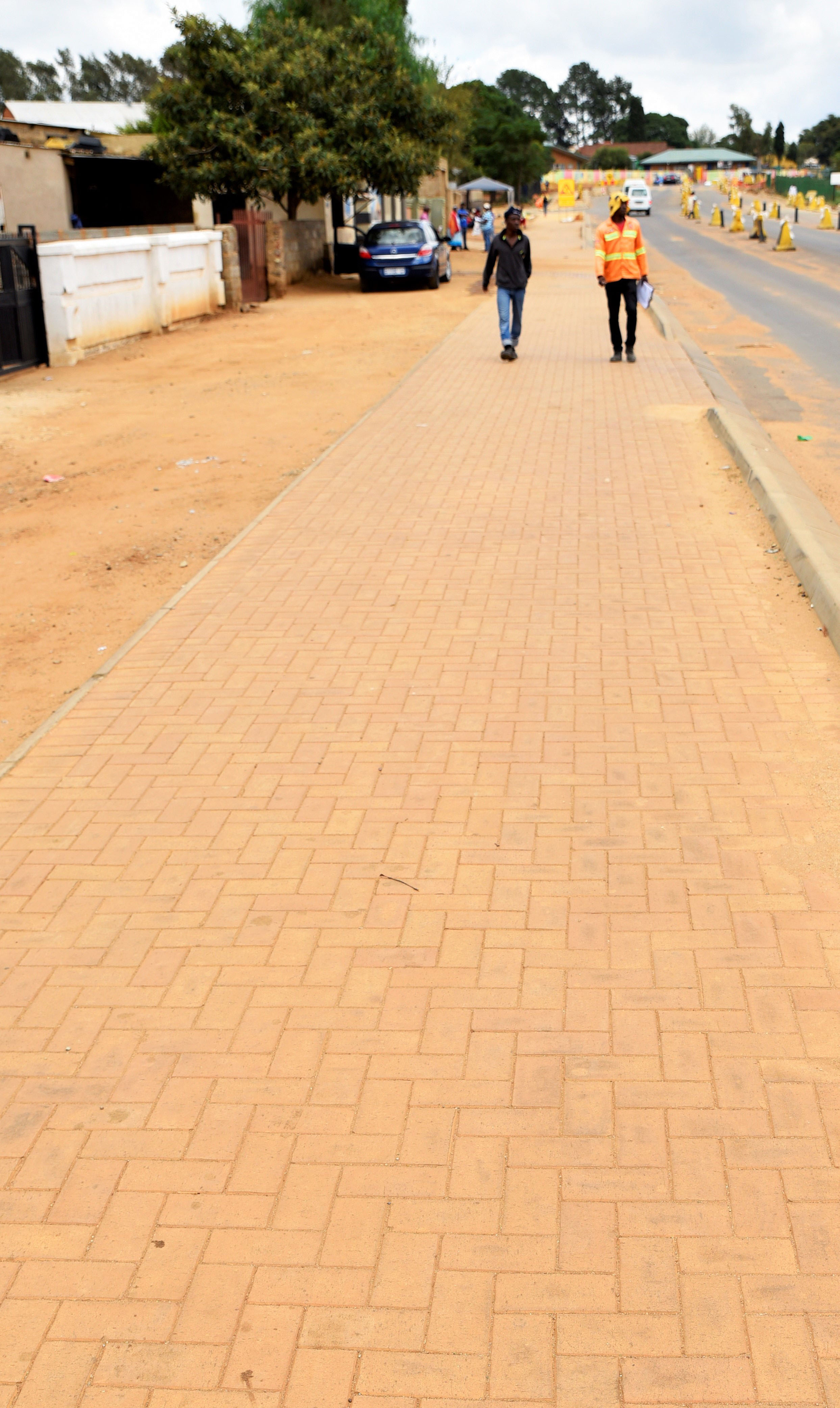 Pavements in Tembisa have been paved in Corobrik Champagne clay pavers in a Herringbone pattern.