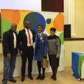 Western Cape Thuthuka Camp top maths learner, Jianni Williams, with Dr Terence Nombembe (SAICA CEO), Sandile Philip (SAICA Southern Region President) and Dr Glynis Schreuder (Western Cape Education Department).