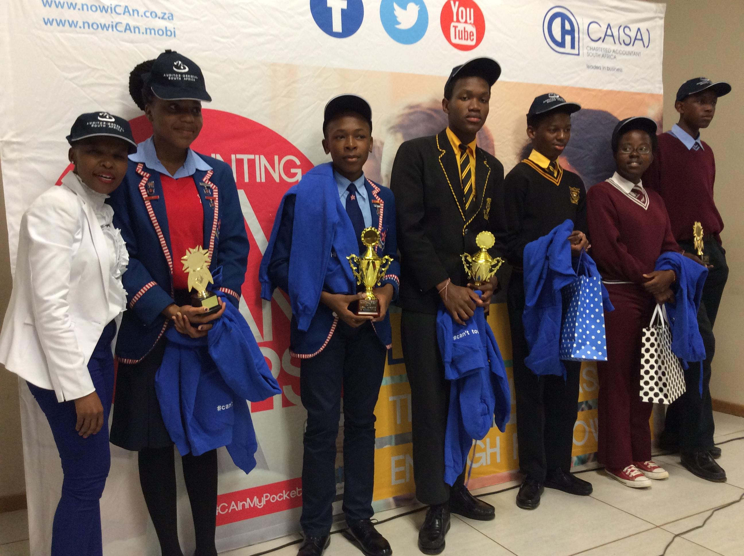 Mpumalanga camp's top learners with the AGSA's Sibongile Lubambo (far left).