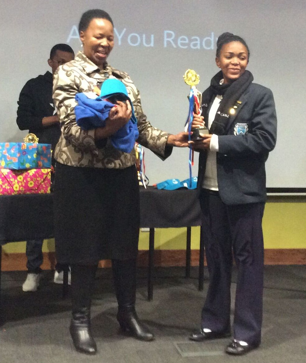 Nwabisa Mdladlamba receiving her award at the Thuthuka Development Camp in the Free State.