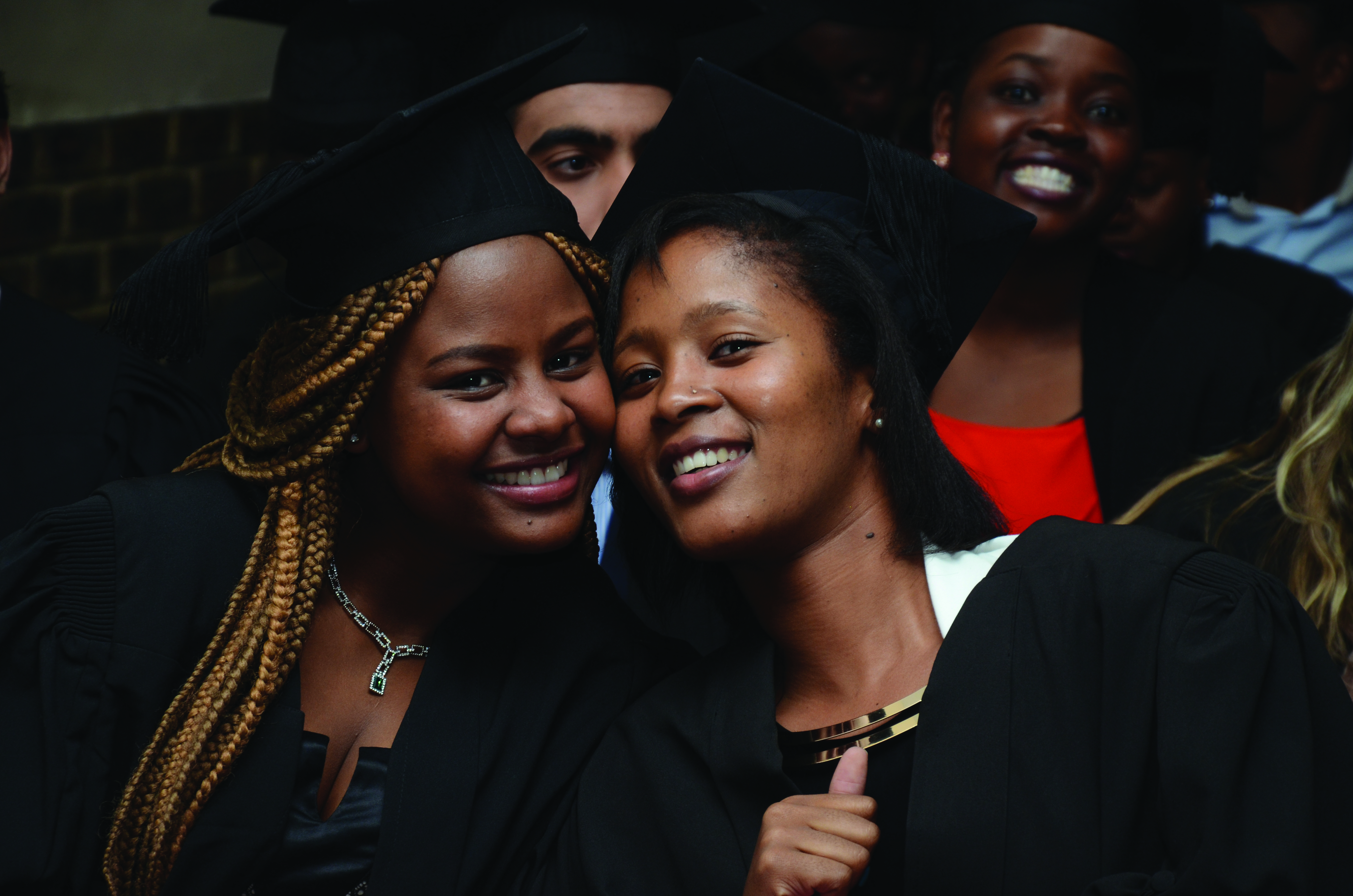 Image: Higher education - Two students at a recent Study Trust graduation celebration