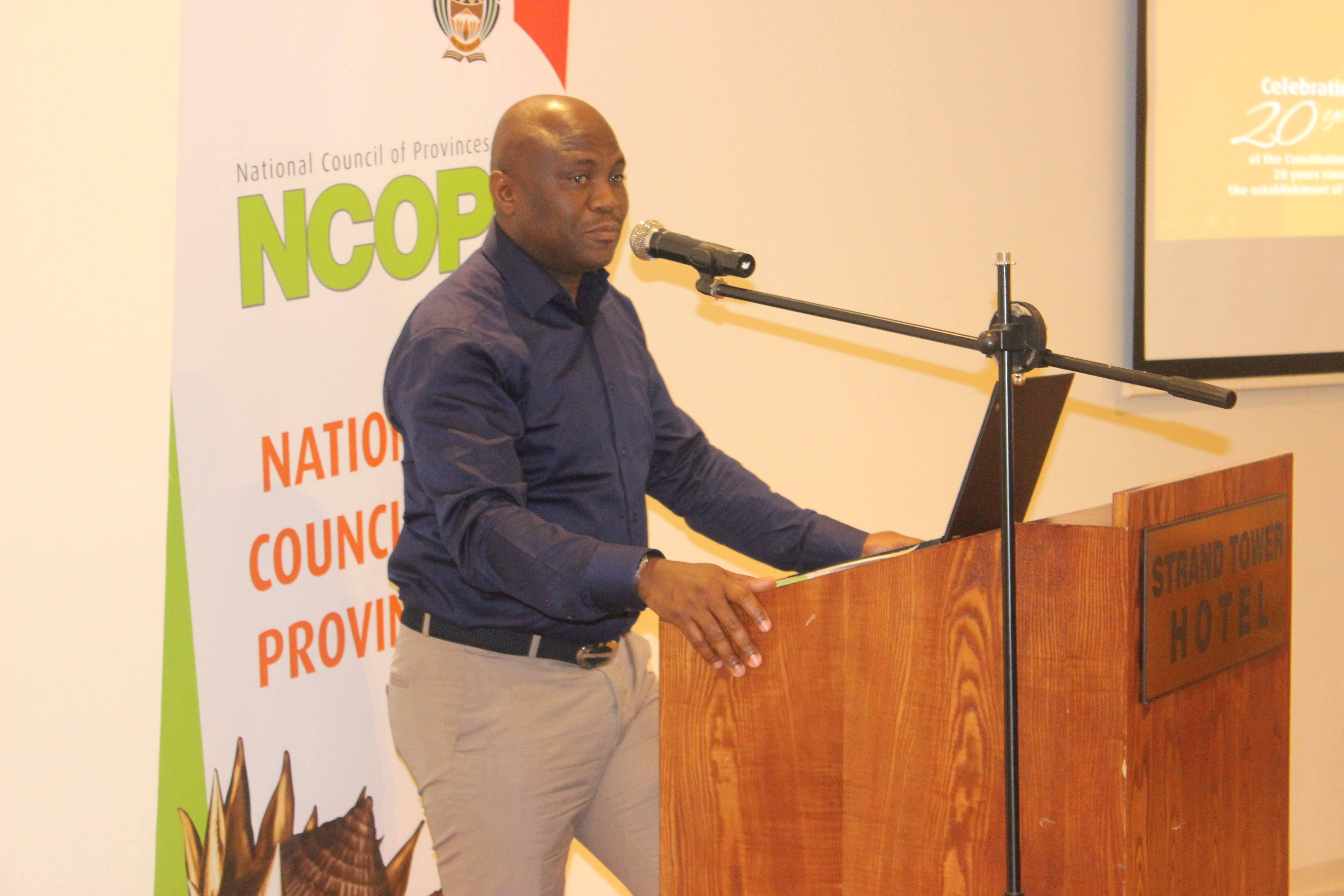 Image: Advocate M E Phindela presenting on the structure and mandate of the NCOP