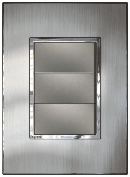 Image: Arteor switch - 3 modules vertical mounting - Brushed Metal, Stainless Steel